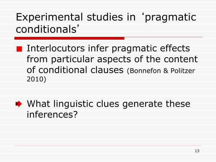 Experimental studies in