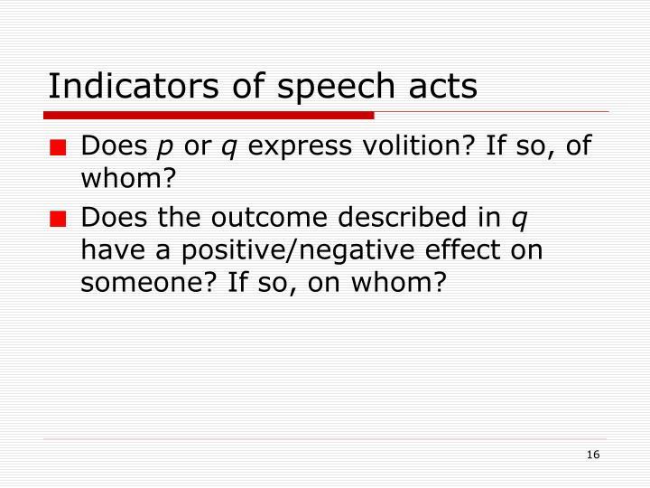 Indicators of speech acts