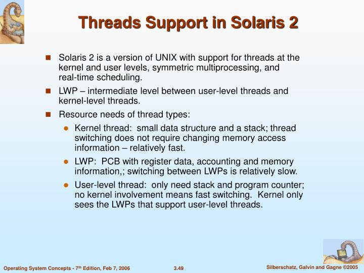 Threads Support in Solaris 2