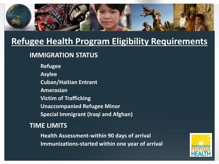 Refugee Health Program Eligibility Requirements
