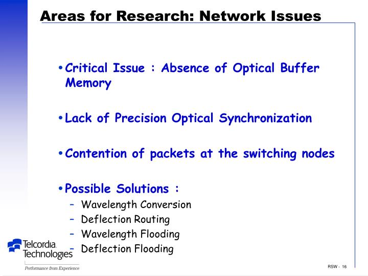 Areas for Research: Network Issues