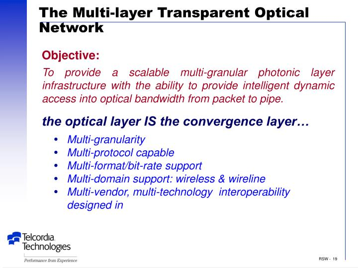 The Multi-layer Transparent Optical Network