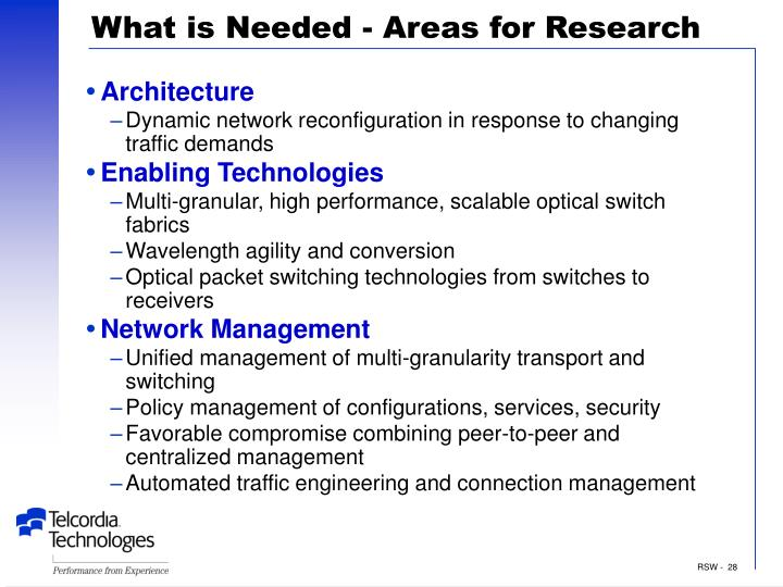 What is Needed - Areas for Research
