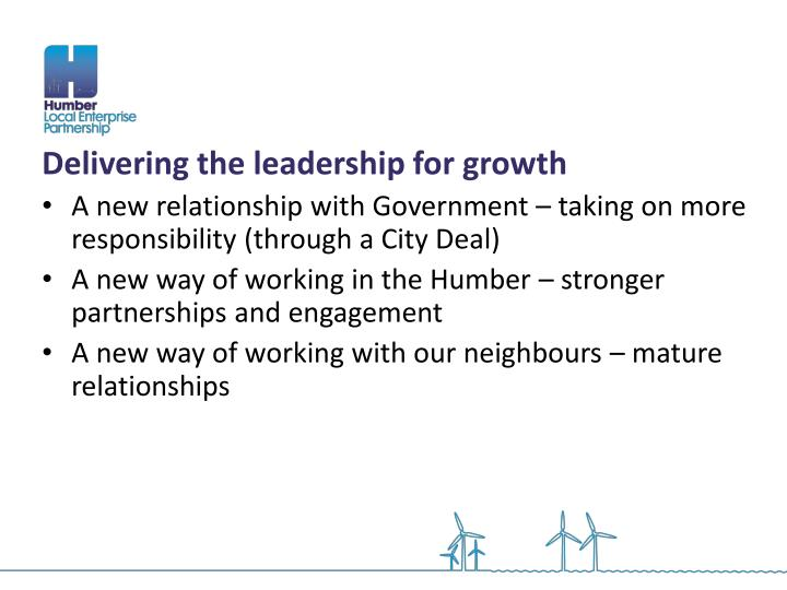 Delivering the leadership for growth