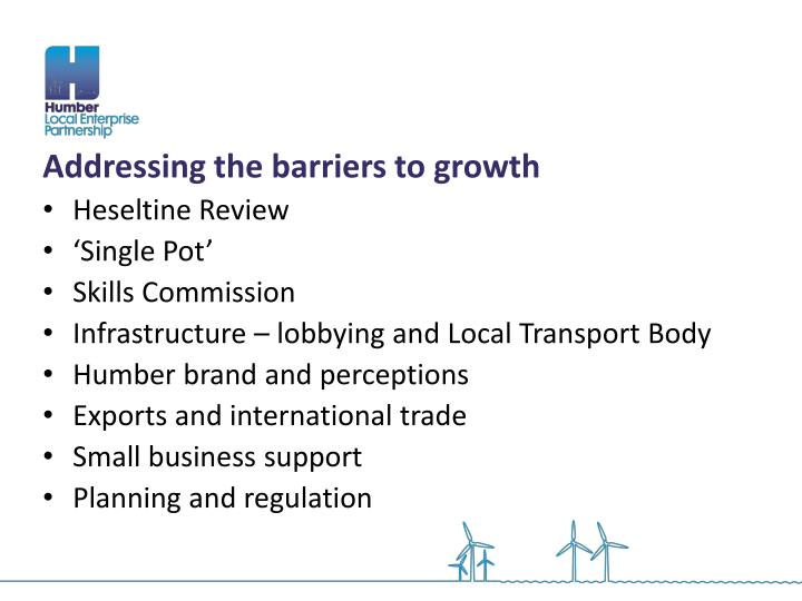 Addressing the barriers to growth