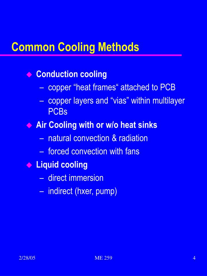 Common Cooling Methods