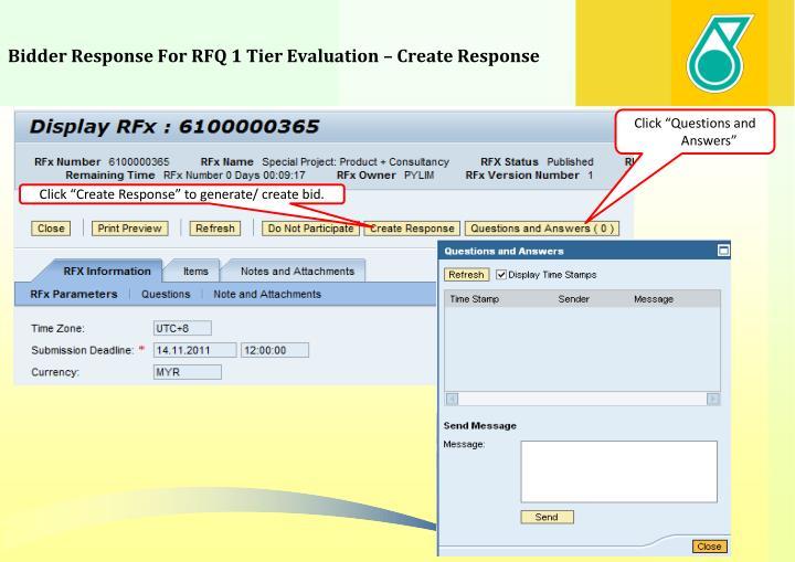 Bidder Response For RFQ 1 Tier Evaluation – Create Response