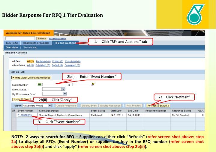 Bidder Response For RFQ 1 Tier Evaluation