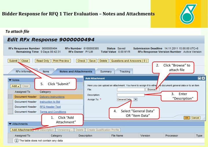 Bidder Response for RFQ 1 Tier Evaluation – Notes and Attachments