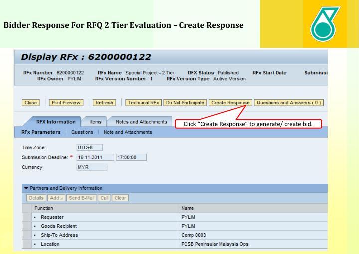 Bidder Response For RFQ 2 Tier Evaluation – Create Response