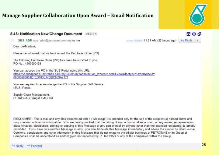 Manage Supplier Collaboration Upon Award – Email Notification
