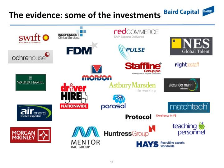 The evidence: some of the investments