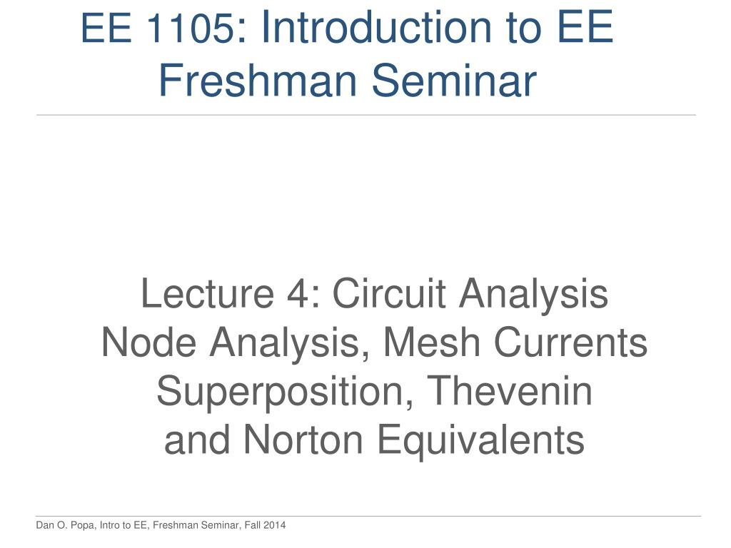 Ppt Ee 1105 Introduction To Freshman Seminar Powerpoint Circuit Nodal Analysis N