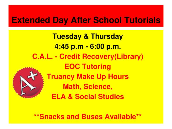 Extended Day After School Tutorials