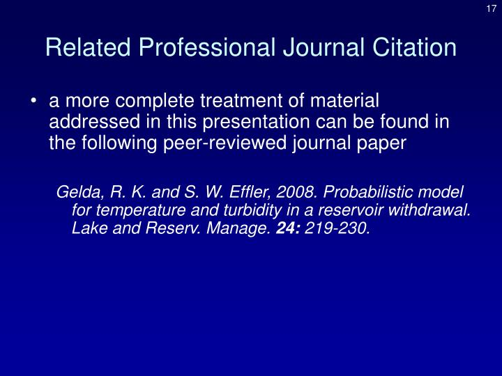 Related Professional Journal Citation