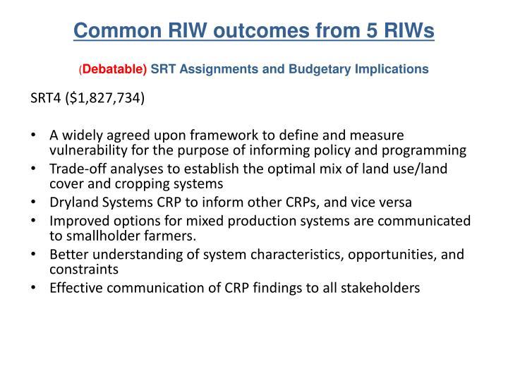 Common RIW outcomes
