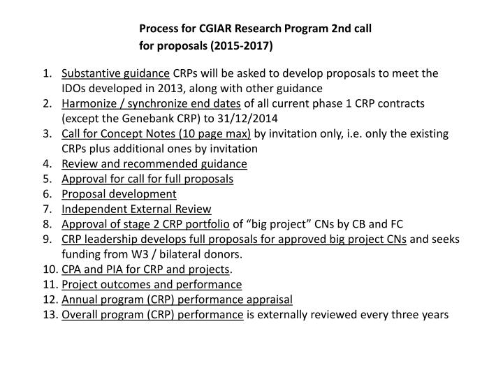 Process for CGIAR Research Program 2nd call for proposals (2015-2017)