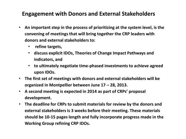Engagement with Donors and External Stakeholders