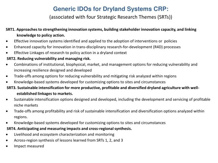 Generic IDOs for Dryland Systems CRP: