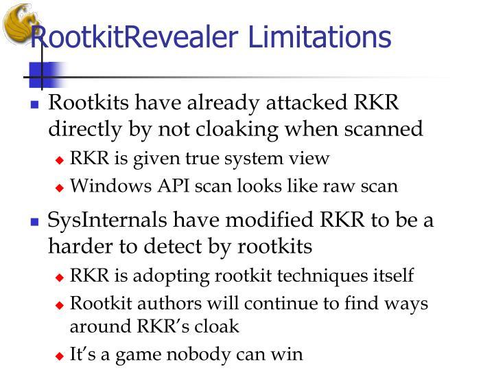 RootkitRevealer Limitations