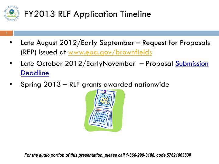 FY2013 RLF Application Timeline