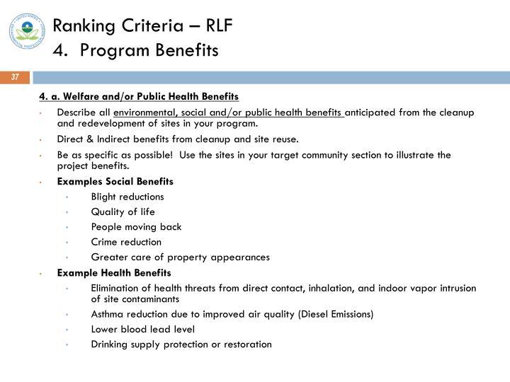 Ranking Criteria – RLF