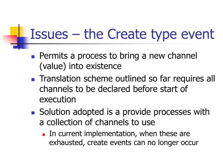 Issues – the Create type event