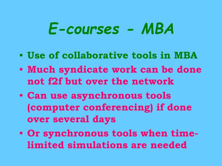 E-courses - MBA