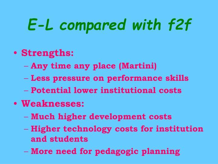 E-L compared with f2f