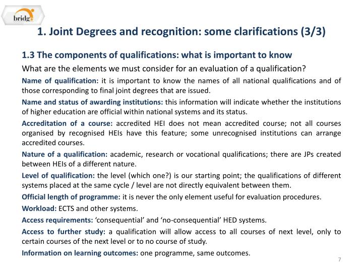 1. Joint Degrees and recognition: some clarifications (3/3)