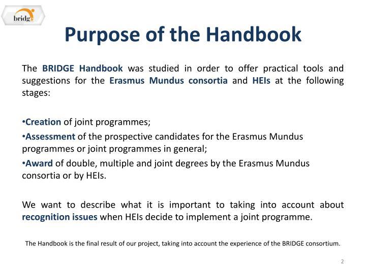 Purpose of the handbook