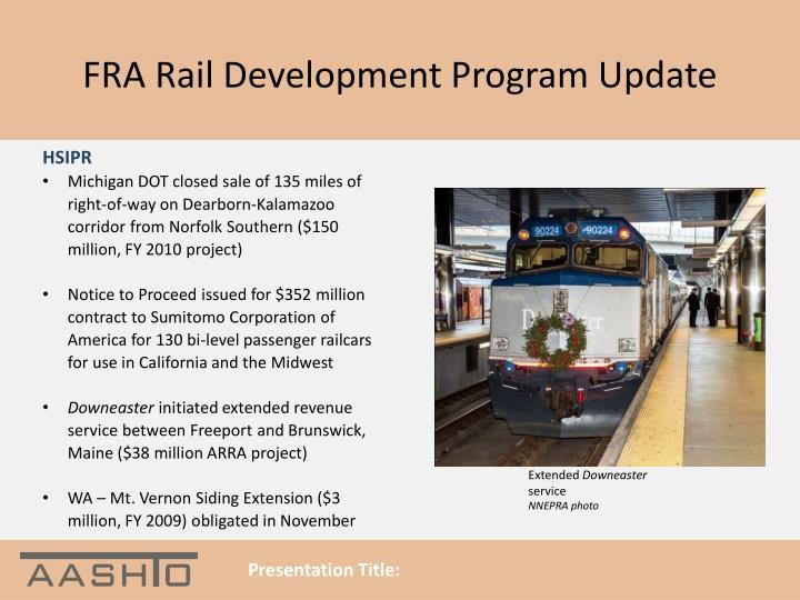Fra rail development program update2