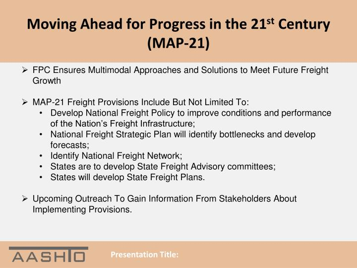 Moving Ahead for Progress in the 21