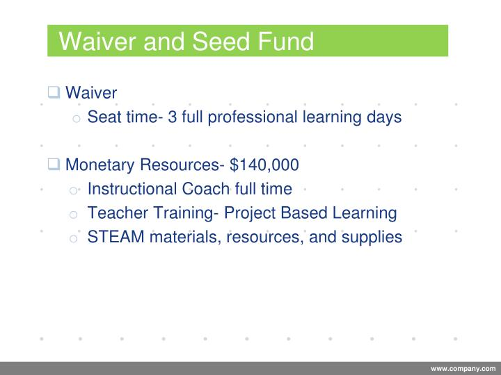 Waiver and Seed Fund