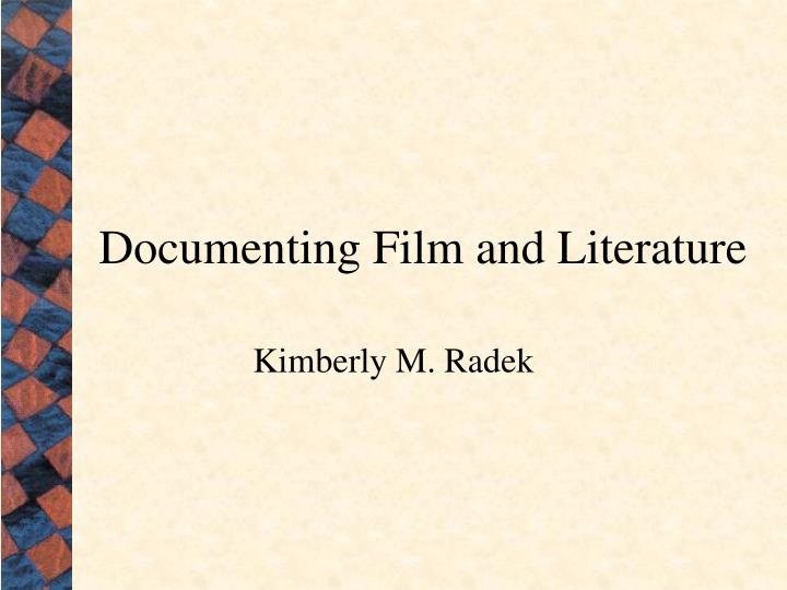 documenting film and literature n.