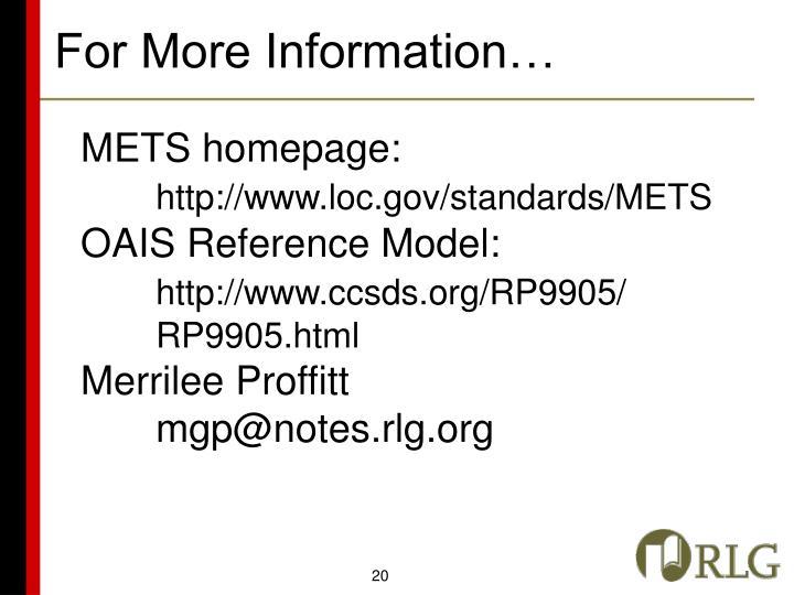 METS homepage:
