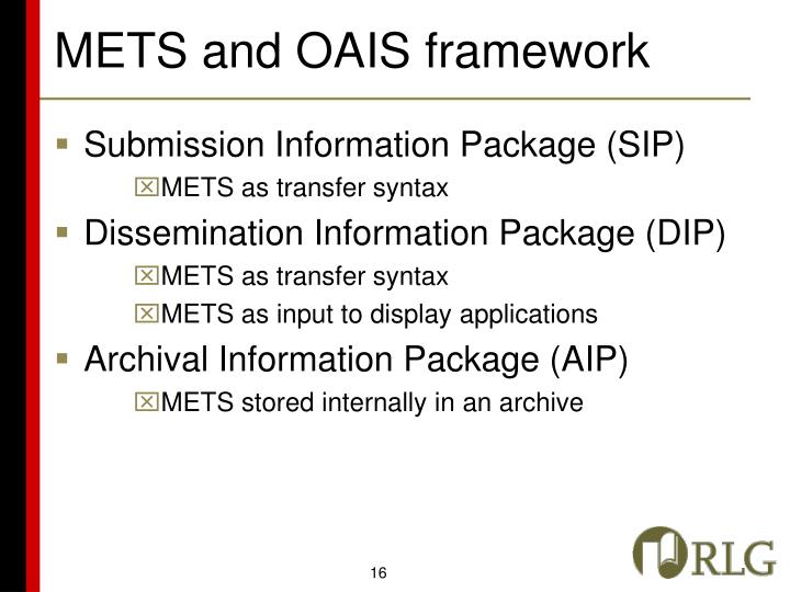 METS and OAIS framework