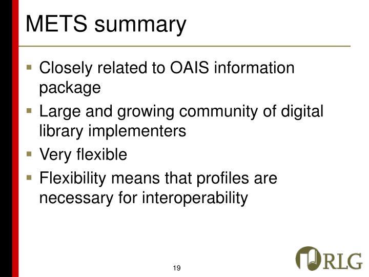 METS summary