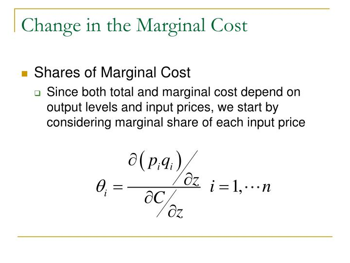Change in the marginal cost