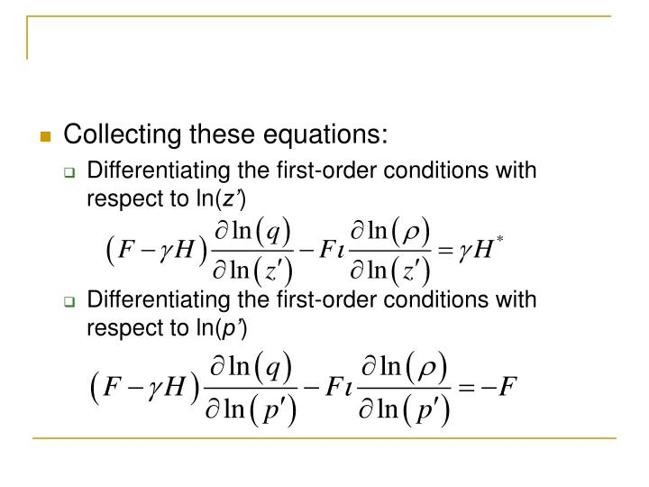 Collecting these equations: