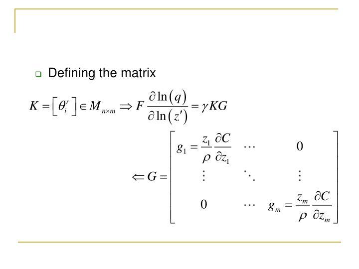 Defining the matrix