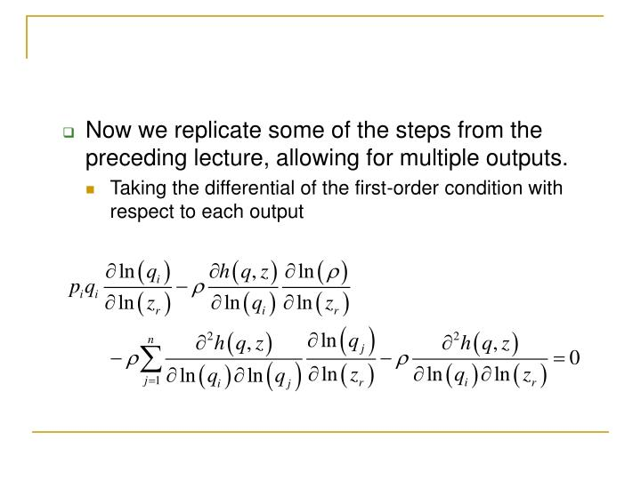 Now we replicate some of the steps from the preceding lecture, allowing for multiple outputs.