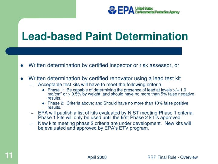 Lead-based Paint Determination
