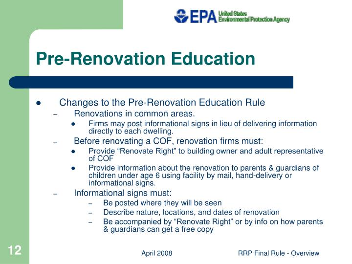 Pre-Renovation Education
