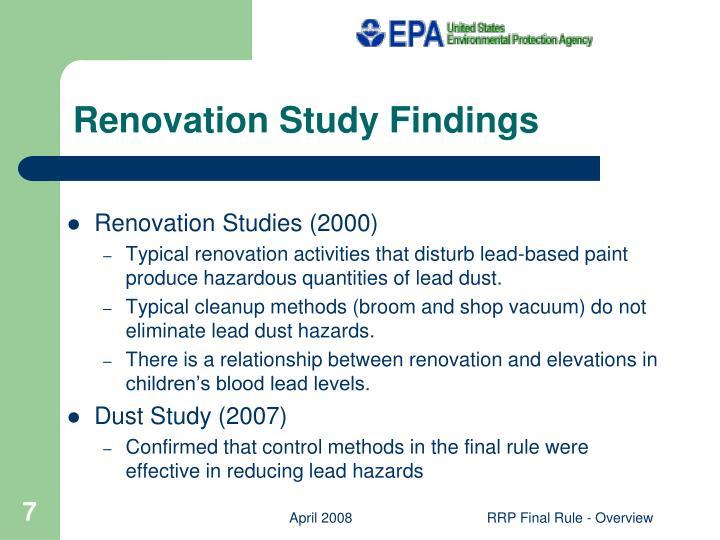 Renovation Study Findings