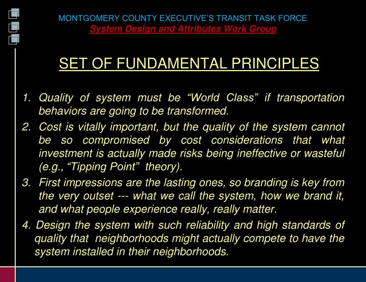 Montgomery county executive s transit task force system design and attributes work group1