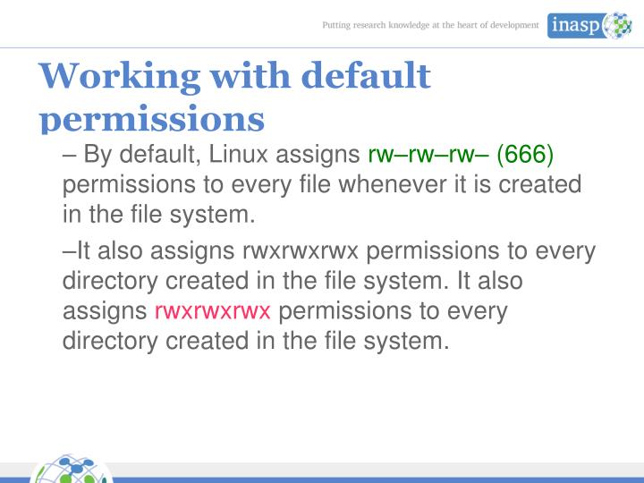 Working with default permissions