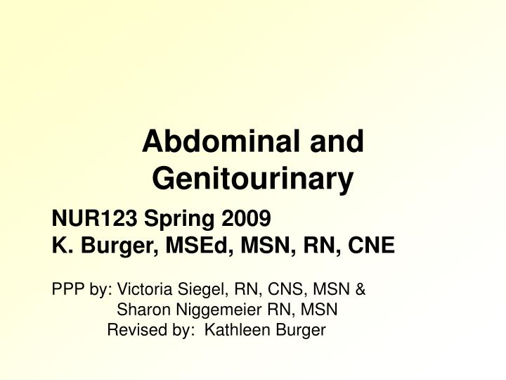 abdominal and genitourinary n.
