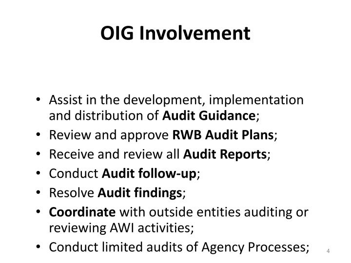 OIG Involvement