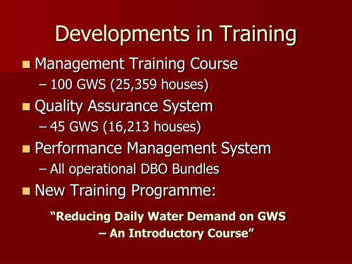 Developments in Training